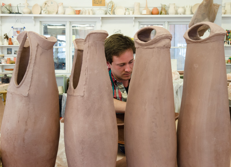 Nick Moen in Penland clay studio
