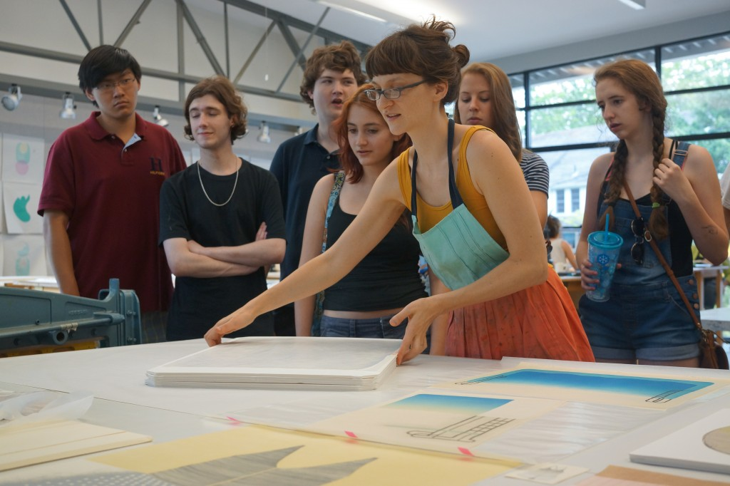 From the Wood studio we walk to Photography (where we disappear in the darkroom) and then over to Print, where instructor Kristin Martinic dazzles us with her work--prints inspired by swimming and swimming pools.
