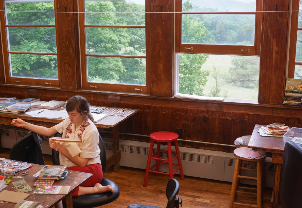 Meanwhile, we climb the wood steps of Lily Loom House to visit Nick DeFord's embroidery-on-paper workshop. The students stitch and chat about local thrift shops, a potential Asheville trip, and how to find Black Mountain College.
