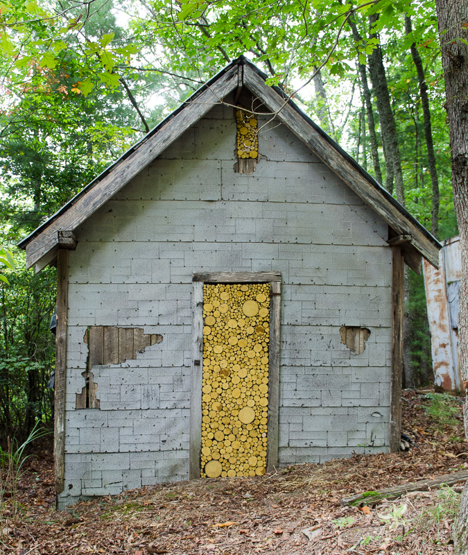 Meredith Brickell's installation in the door of an old chicken house near the maintenance shop.