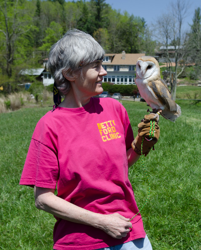 char walker with barn owl at penland school