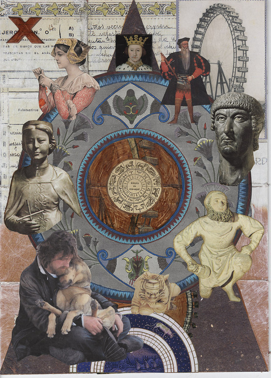 Collaged image of a tarot card using a variety of found imagery