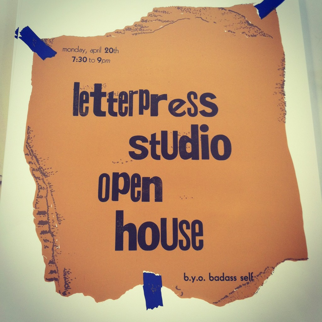 Letterpress-printed poster advertising a studio open house
