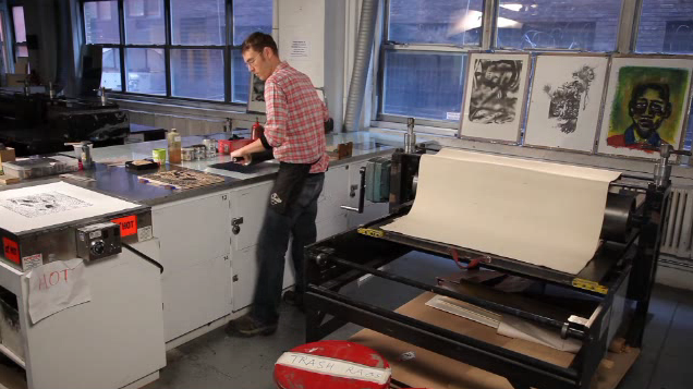 Phil Sanders working in a print shop