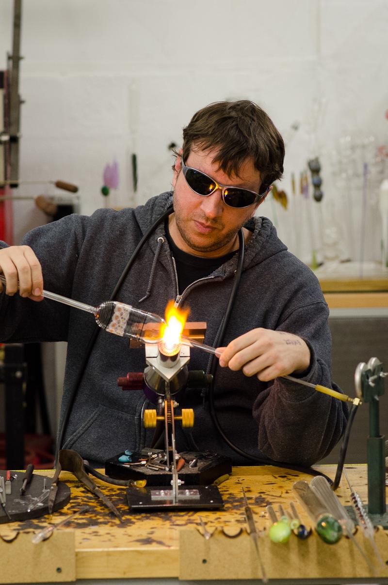 Micah Evans flameworking glass
