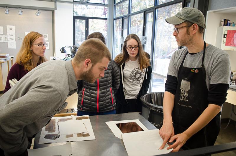 Printmaker Phil Sanders teaching at Penland