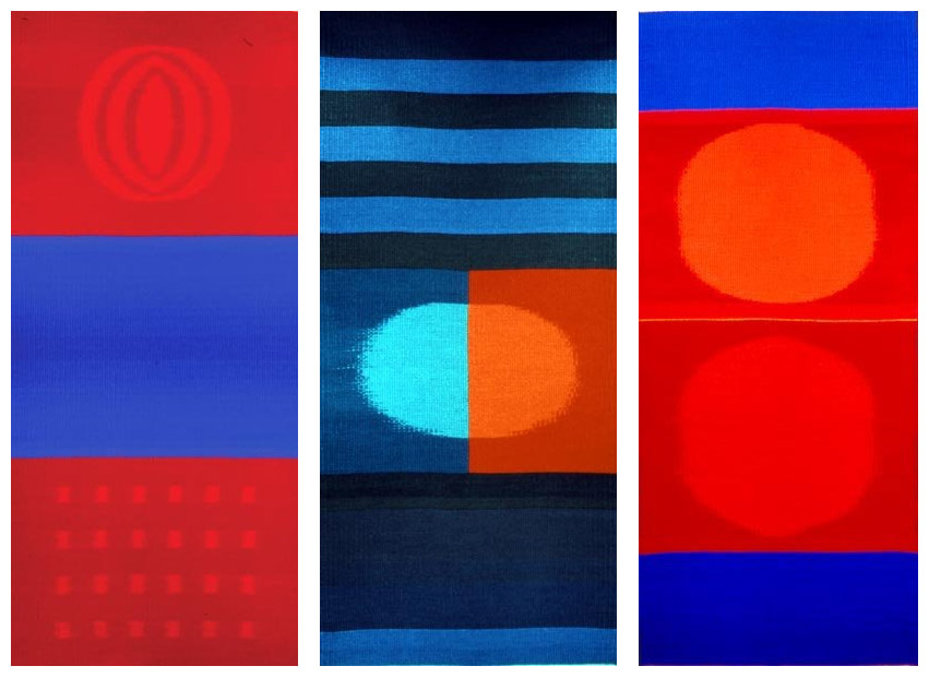 geometric tapestries woven in red and blue