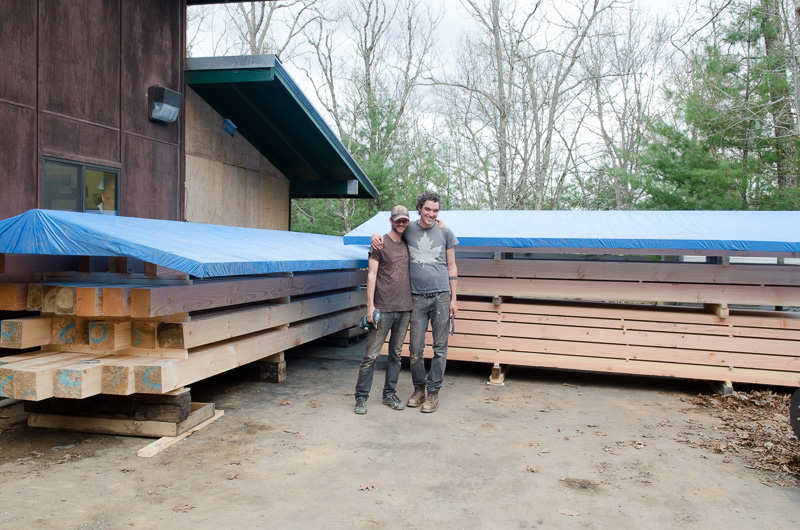 Raivo and Tom with timbers