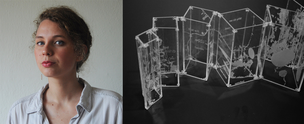 portrait of Alexandra and plexiglass sculpture