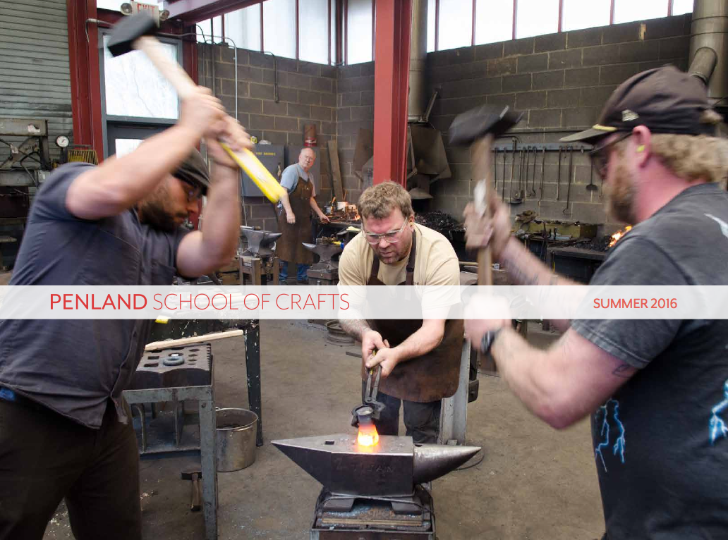 Three men working together at the anvil