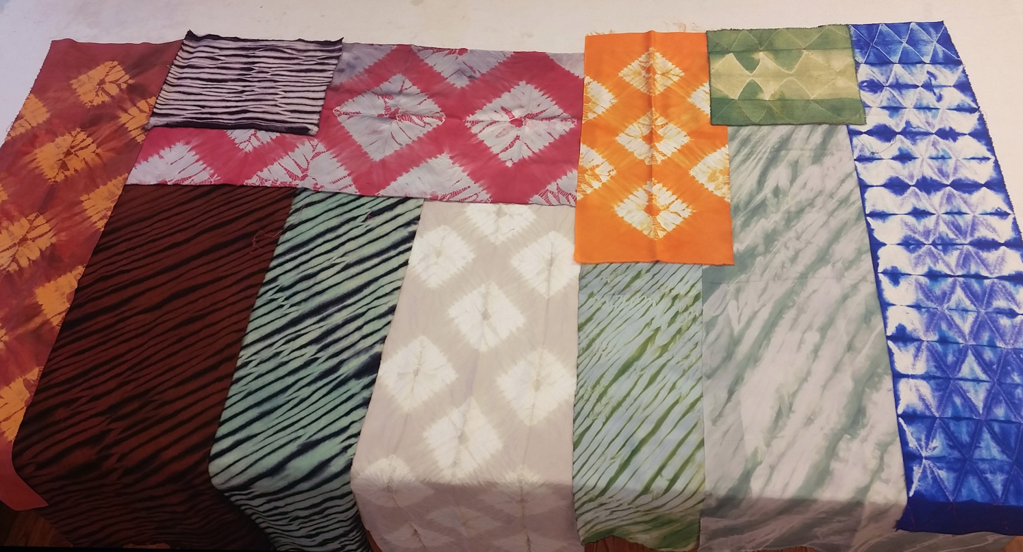 samples of shibori-dyed fabrics