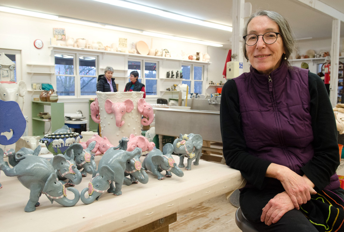 Janice Farley and her elephant sculptures