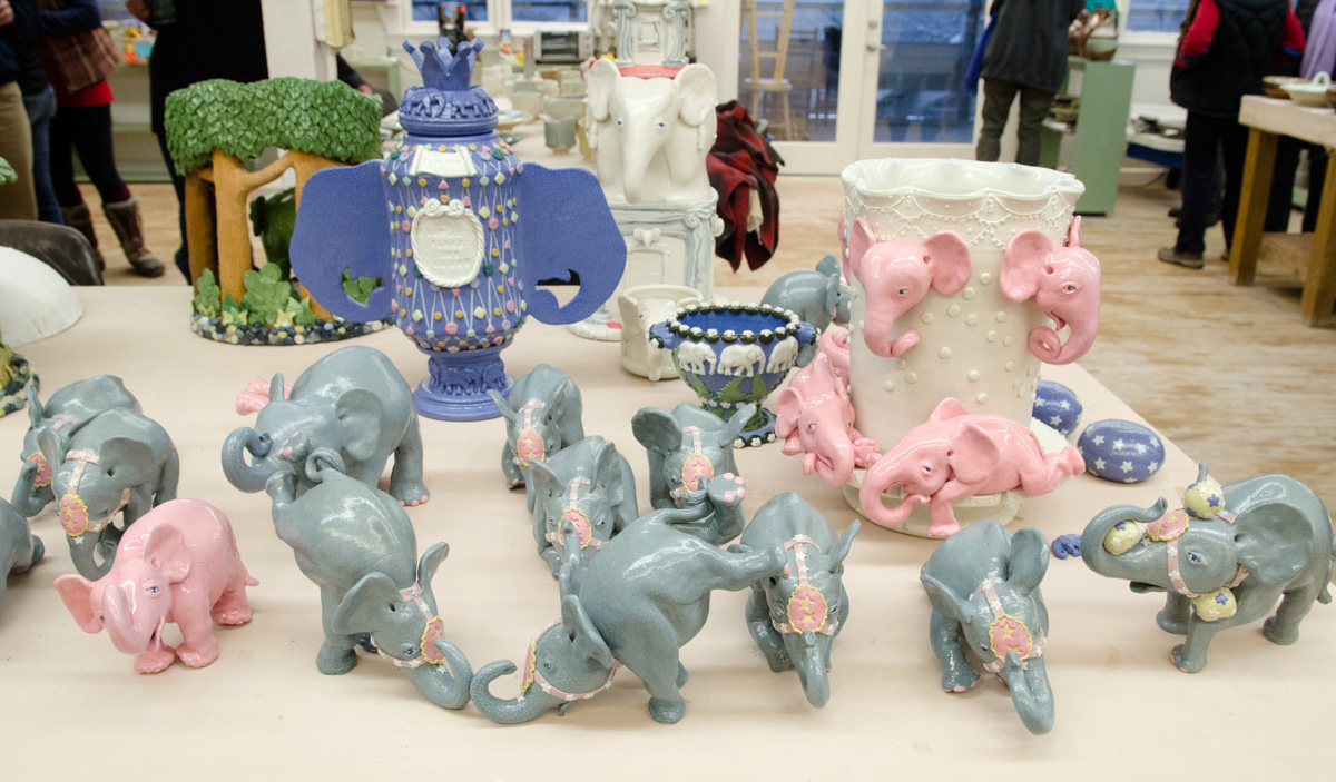 Elephant ceramics by Janice Farley