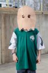 kid wearing paper mask