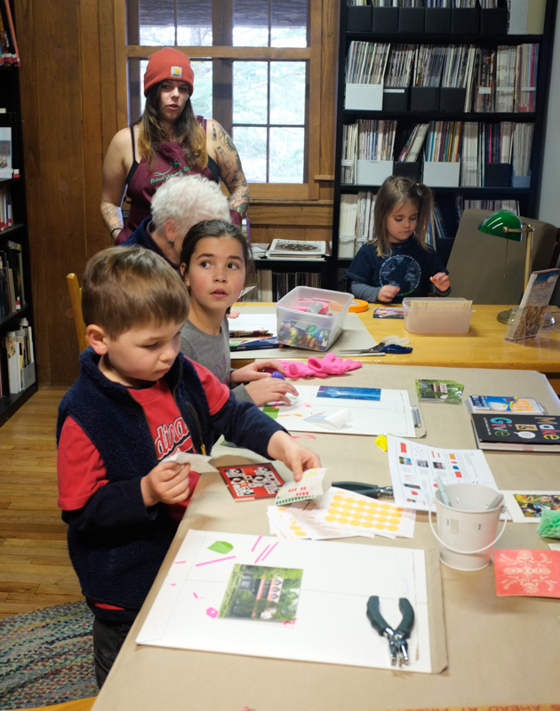 Visitors to the school store got to embellish Penland postcards