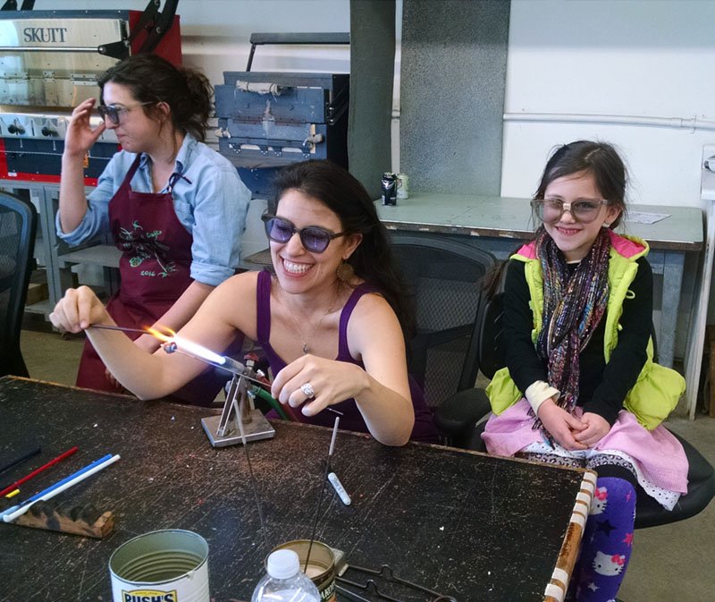 Here's a mother-daughter flameworking duo.