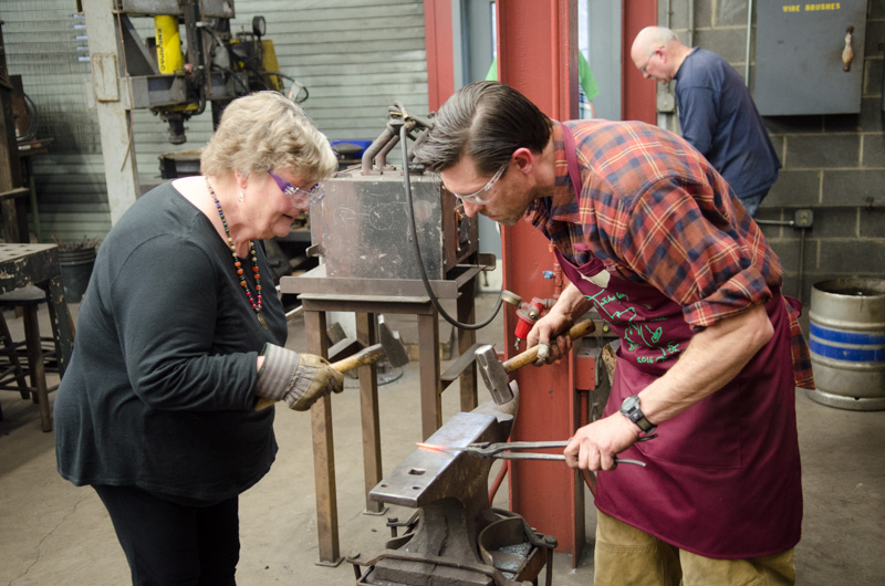 In the iron studio, everyone got to try their hand at forging a J hook.