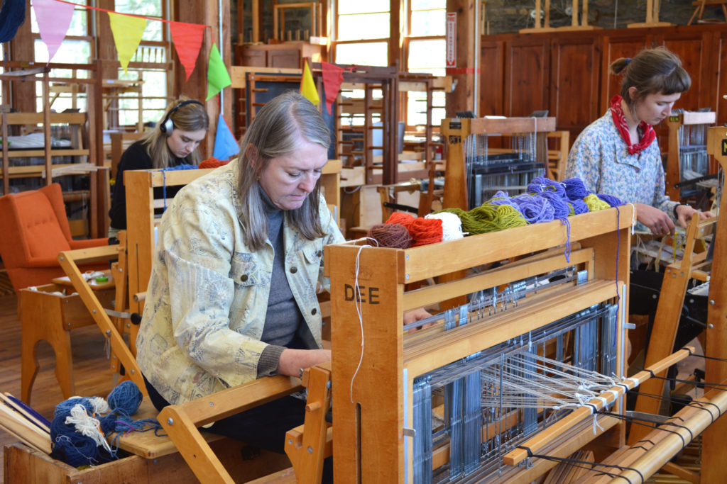 "Students at work in the ""Artist and Weaver"" concentration"