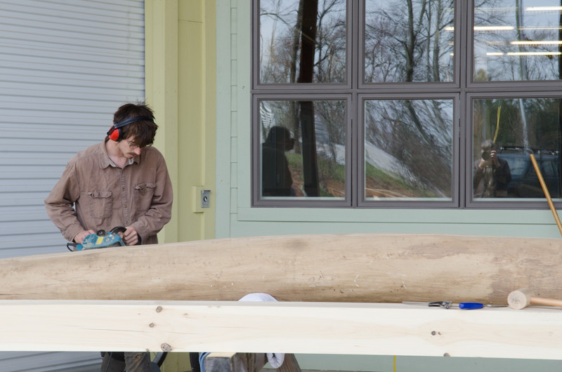 Everything is scaled up in the wood studio this spring for the timber framing class