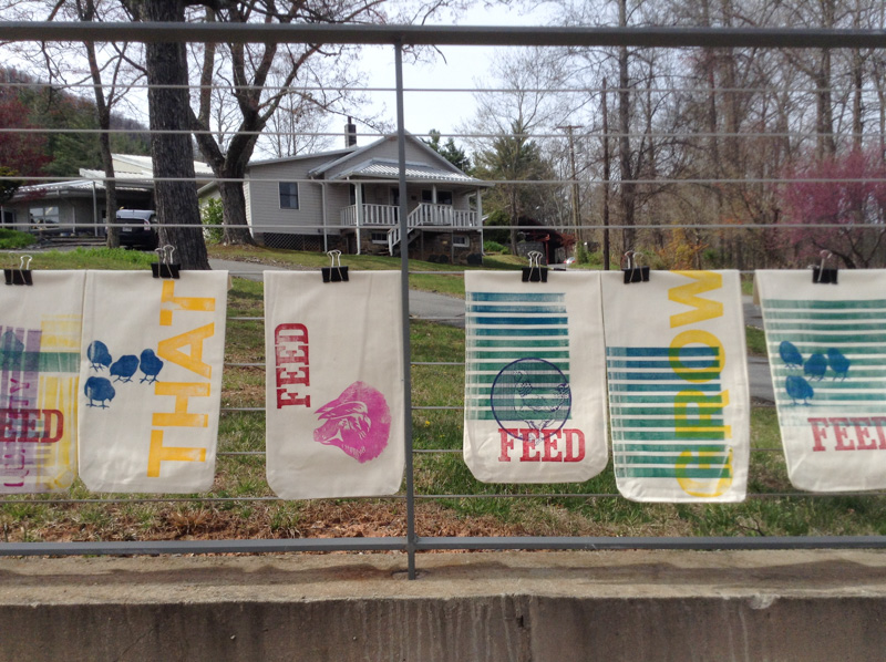 "A few of the cloth bags that came out of one week of ""Printfest!"""