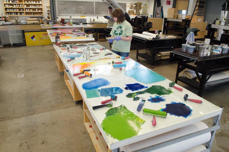 A rainbow of inks in the letterpress studio
