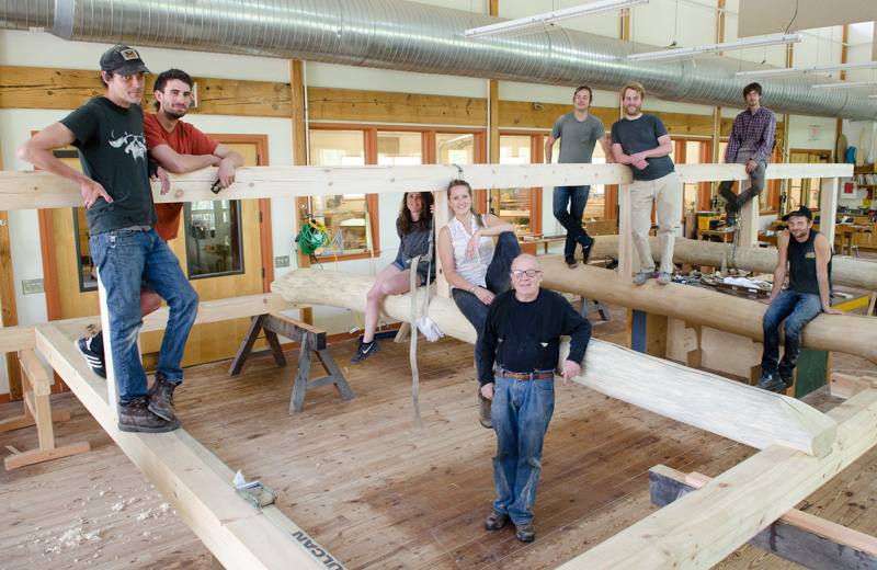 Wood students with their building-to-be!