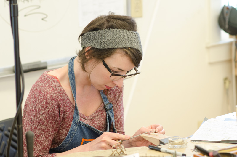 "Instructor Laura Wood in the studio during her ""Make Show Repeat"" concentration"