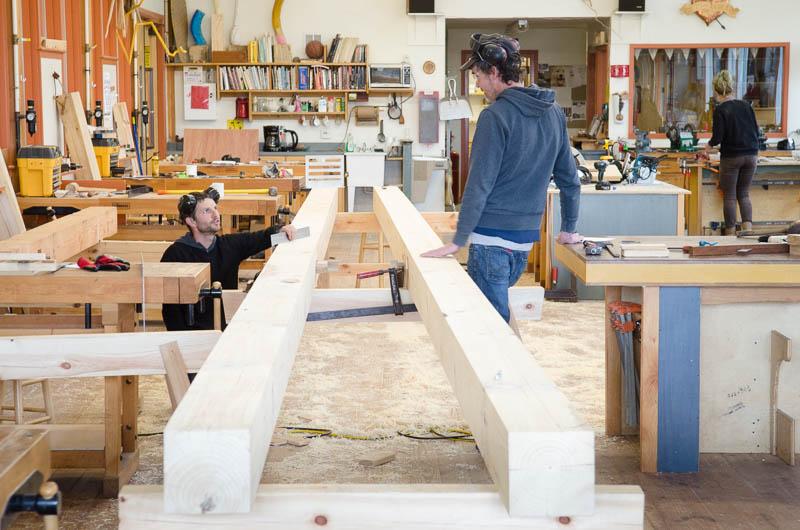 Timber framing at Penland School