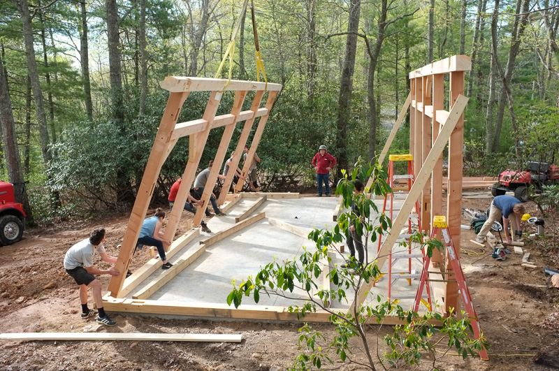 The first two walls of the frame going up