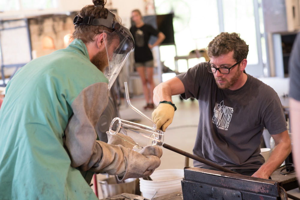 Nick Fruin in the Penland glass studio