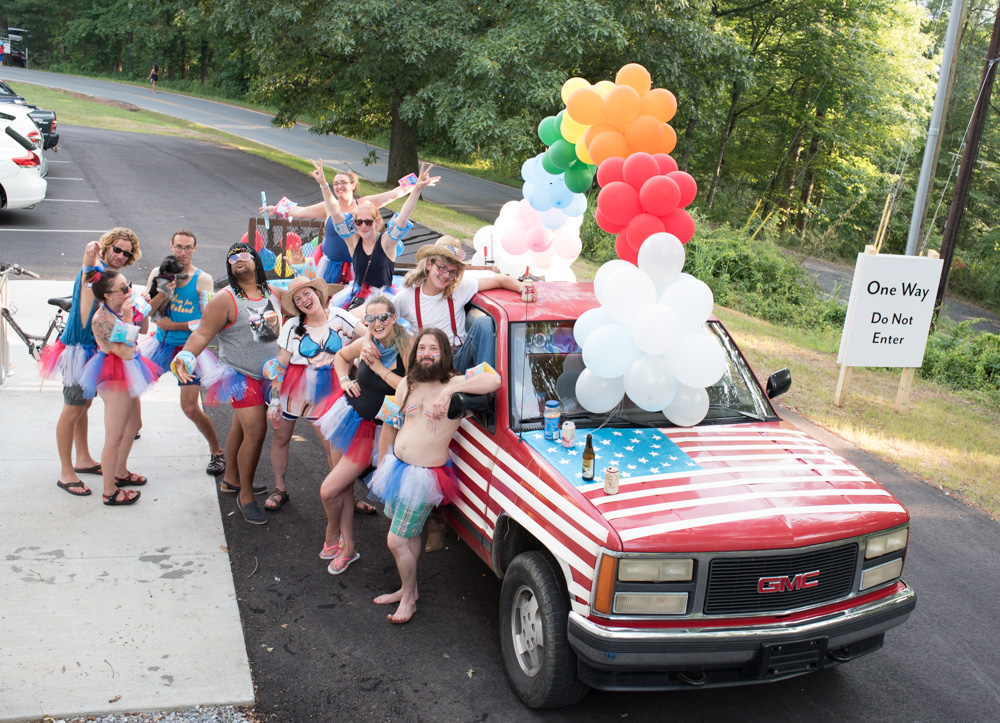 It's a party in the U.S.A. on this red truck.