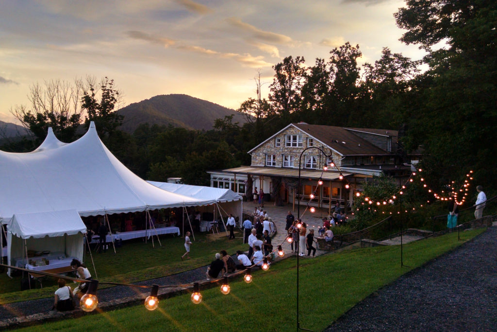 the auction tent on Friday evening as the sun goes down