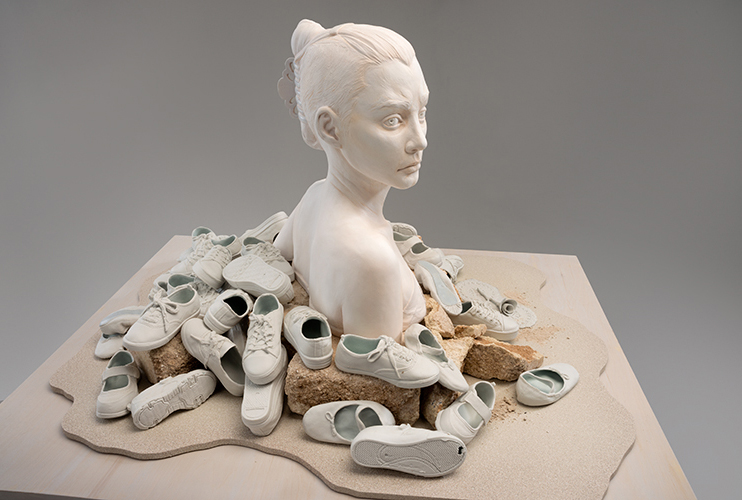 "Nan Smith, ""Twenty Twelve,"" glazed and painted earthenware, glazed porcelain, concrete, sand, wood"