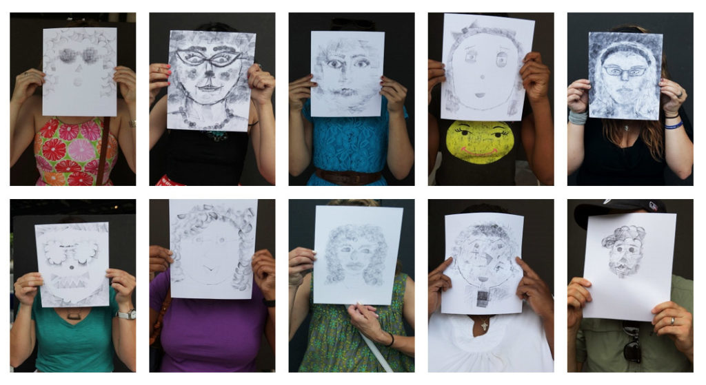"A few of the stamped portraits created by Nashville residents as part of ""Our Town"""