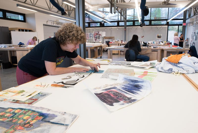 artist melissa stern in the Penland drawing and painting studio