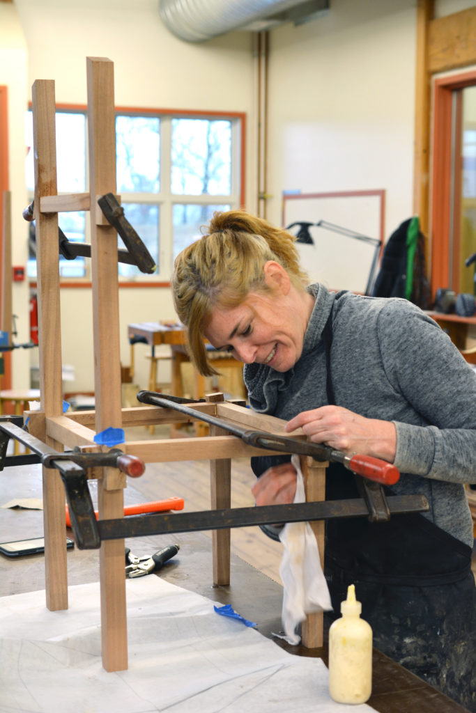 Resident artist Annie Evelyn chose to make a 12-hour valet stand, which is sort of like a little table combined with a chair and a coat rack.