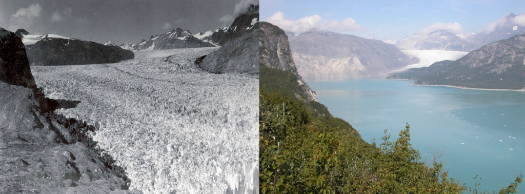 Two images of Muir Glacier taken 63 years apart