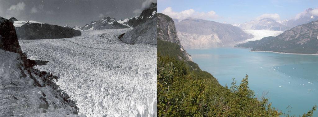 Two images of Muir Glacier taken 63 years apart