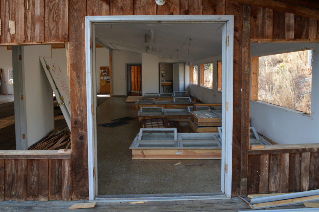 Salvaged windows waiting to be transported to their next homes.