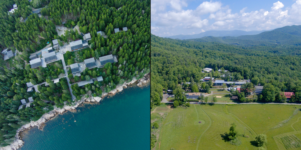 aerial views of the Haystack and Penland campuses