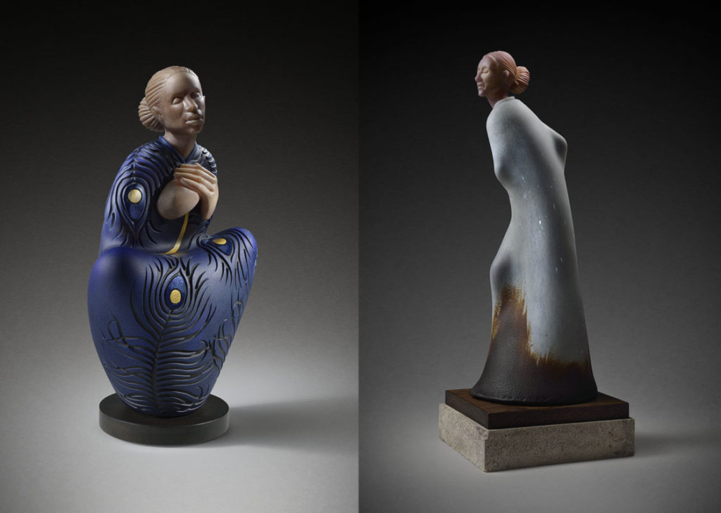 Two figurative sculptures in glass