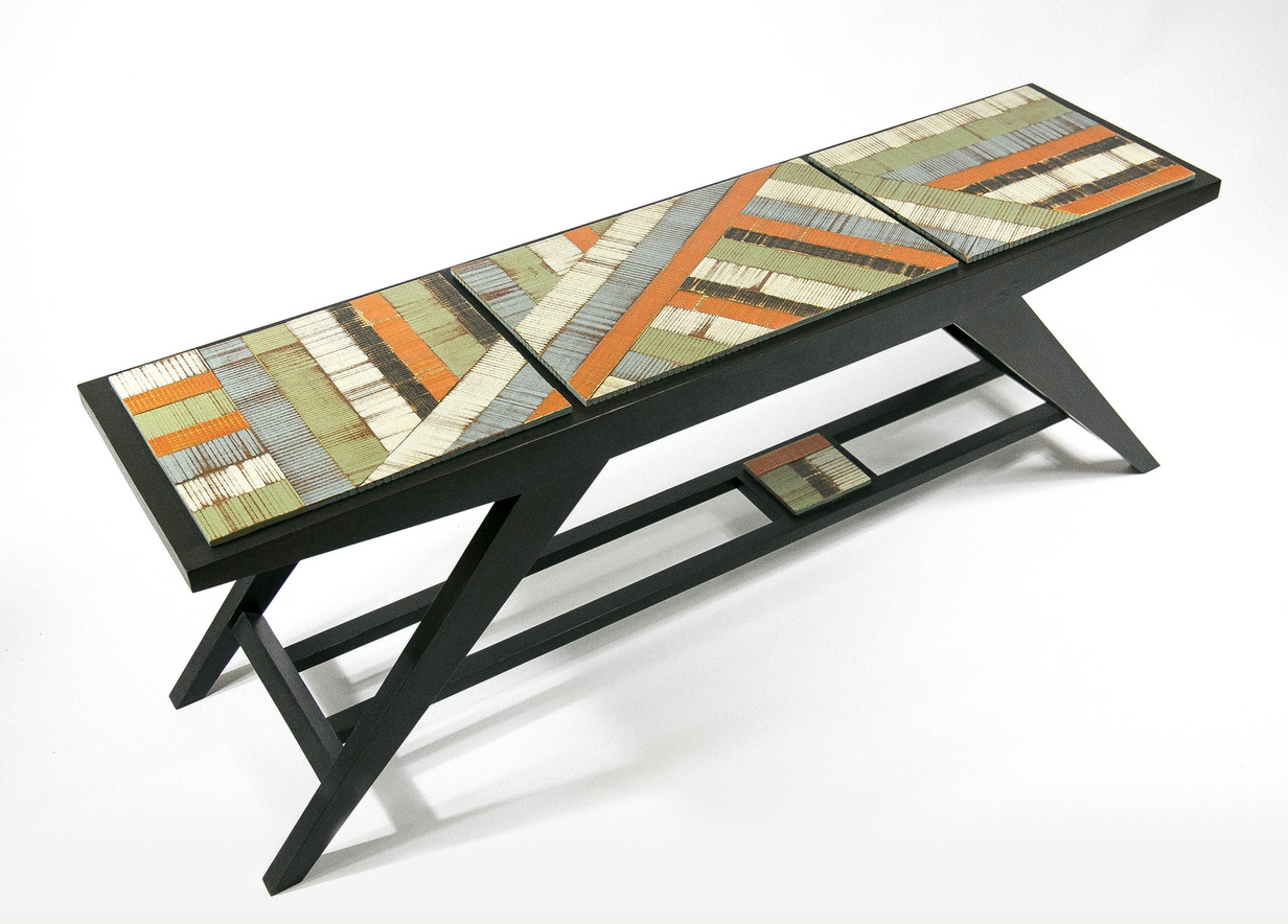 colorful wooden bench