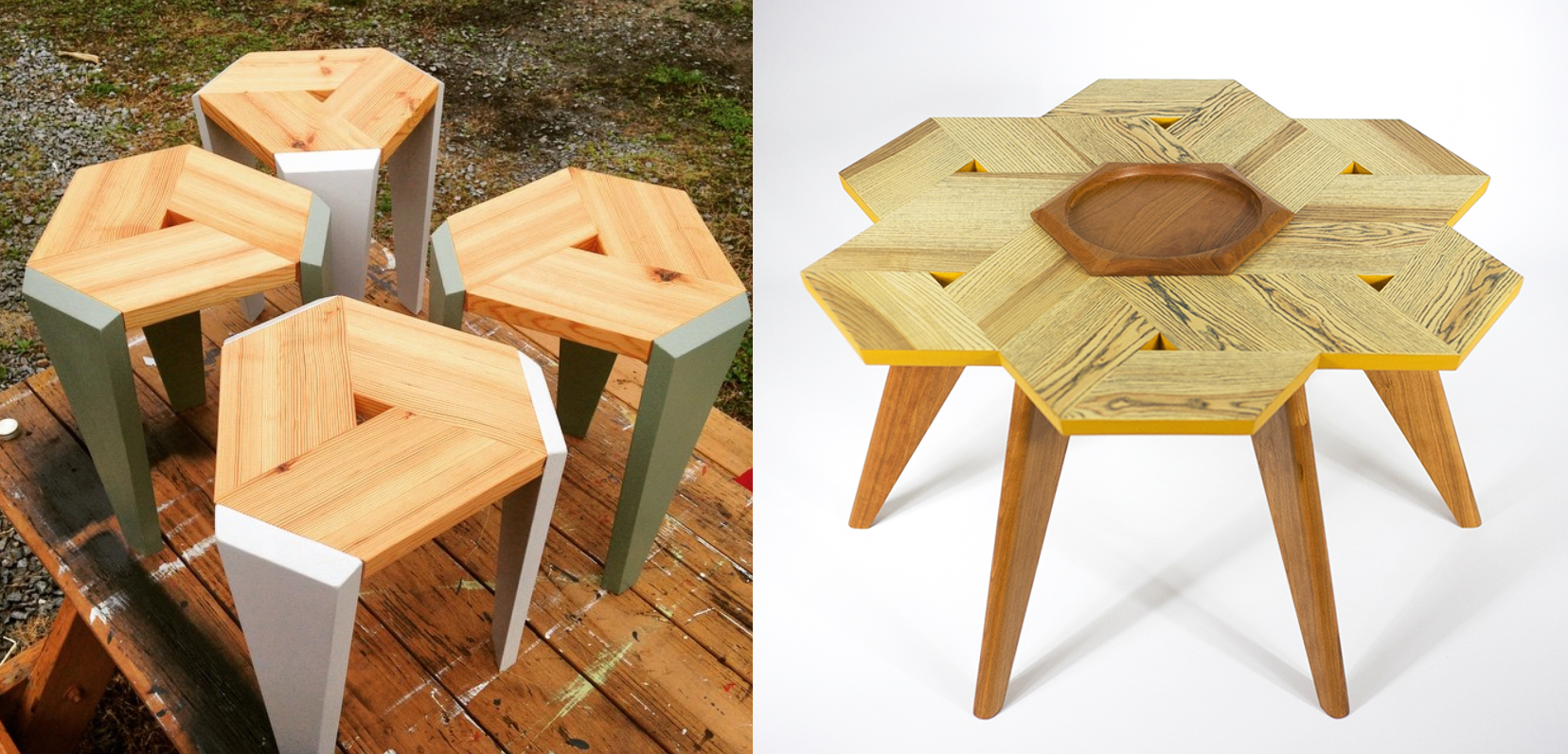 wooden stool and table designs that both incorporate a central hexagon of wood.