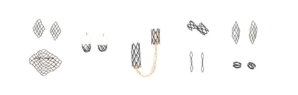 Alex McClay, Net Series, steel wire, sterling silver, linen knotted netting by Sarah Rose Lejeune