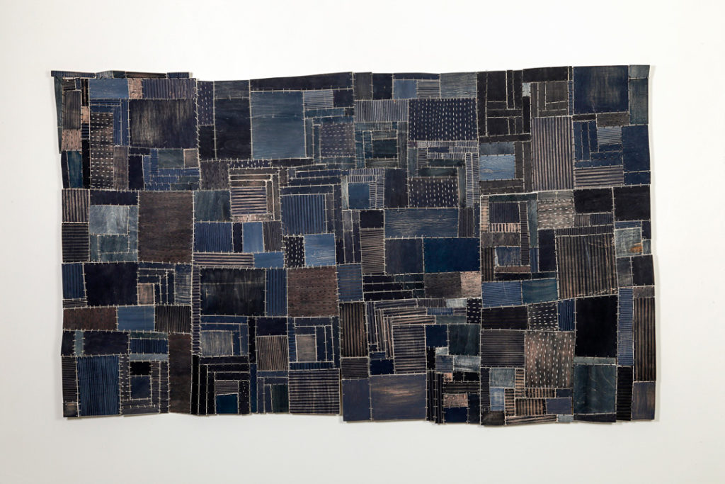 Eleanor Anderson, Wood Quilt #1, plywood, paint, wire, waxed linen thread