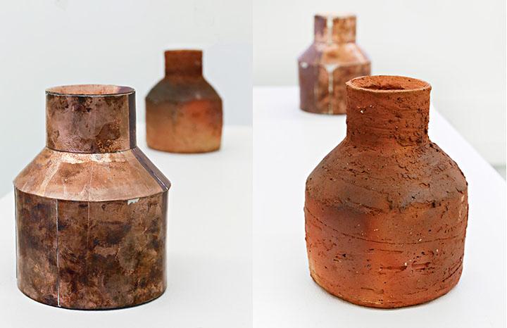 Elliot Keeley, Bottle Permutations (details), wood-fired stoneware, steel, copper