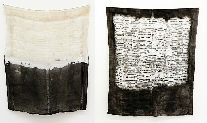 Sarah Rose Lejeune, Neither here nor there, handwoven ondulé devoré in cotton, silk, and stainless steel