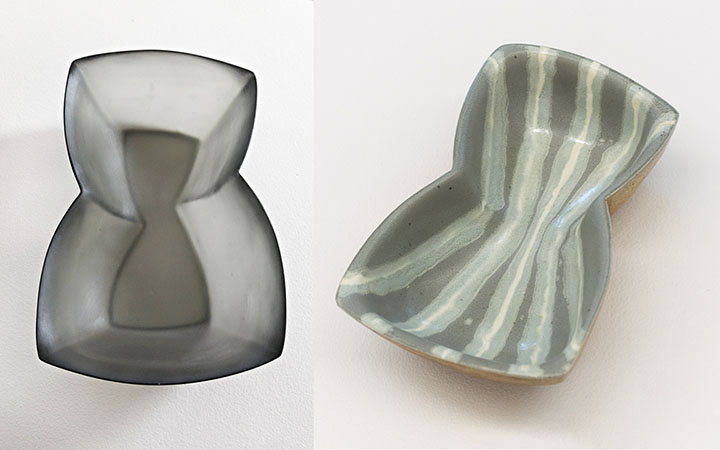 Stormie Burns, left: Skew Bowl, cast glass; right: Skew Bowl (with Courtney Martin), wood-fired stoneware