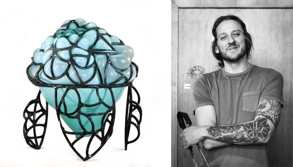 Josh Fredock portrait and piece of glass/metal sculpture