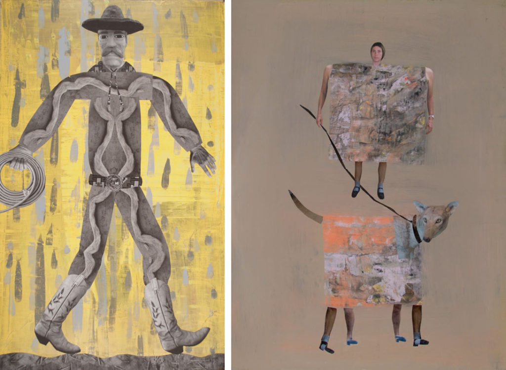 two collaged paintings by Holly Roberts
